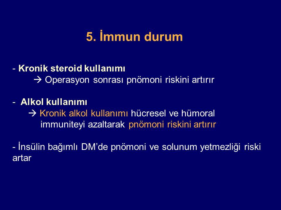 5. İmmun durum - Kronik steroid kullanımı  Operasyon sonrası pnömoni riskini artırır - Alkol kullanımı  Kronik alkol kullanımı hücresel ve hümoral i
