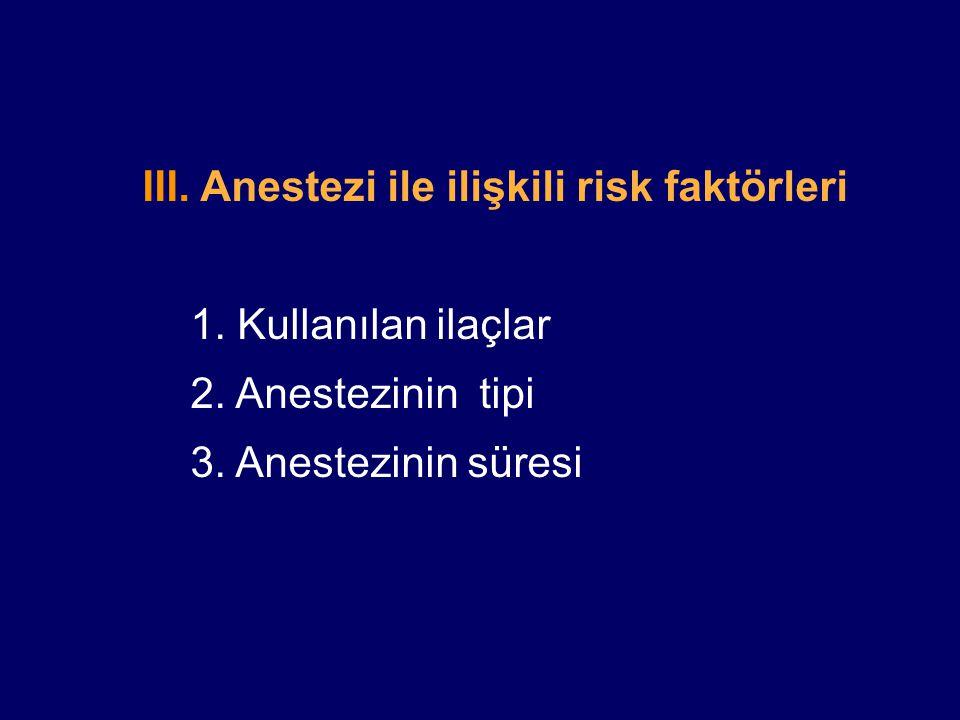 III.Anestezi ile ilişkili risk faktörleri 1. Kullanılan ilaçlar 2.