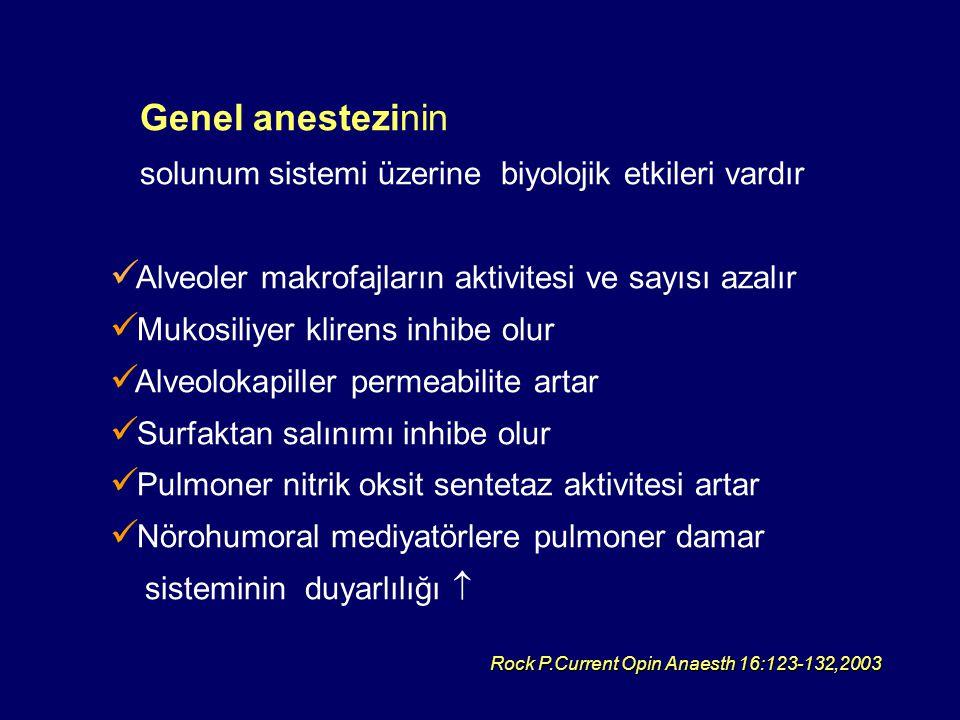 Genel anestezinin solunum sistemi üzerine biyolojik etkileri vardır Alveoler makrofajların aktivitesi ve sayısı azalır Mukosiliyer klirens inhibe olur Alveolokapiller permeabilite artar Surfaktan salınımı inhibe olur Pulmoner nitrik oksit sentetaz aktivitesi artar Nörohumoral mediyatörlere pulmoner damar sisteminin duyarlılığı  Rock P.Current Opin Anaesth 16:123-132,2003