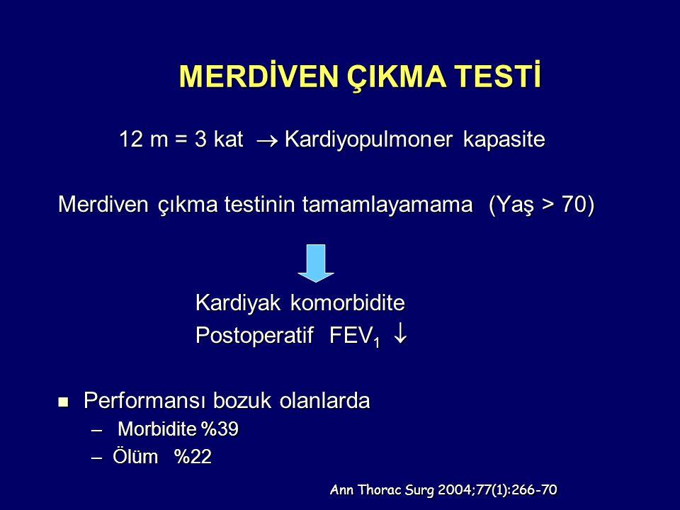 MERDİVEN ÇIKMA TESTİ 12 m = 3 kat  Kardiyopulmoner kapasite 12 m = 3 kat  Kardiyopulmoner kapasite Merdiven çıkma testinin tamamlayamama (Yaş > 70) Kardiyak komorbidite Kardiyak komorbidite Postoperatif FEV 1  Postoperatif FEV 1  Performansı bozuk olanlarda Performansı bozuk olanlarda – Morbidite %39 –Ölüm %22 Ann Thorac Surg 2004;77(1):266-70