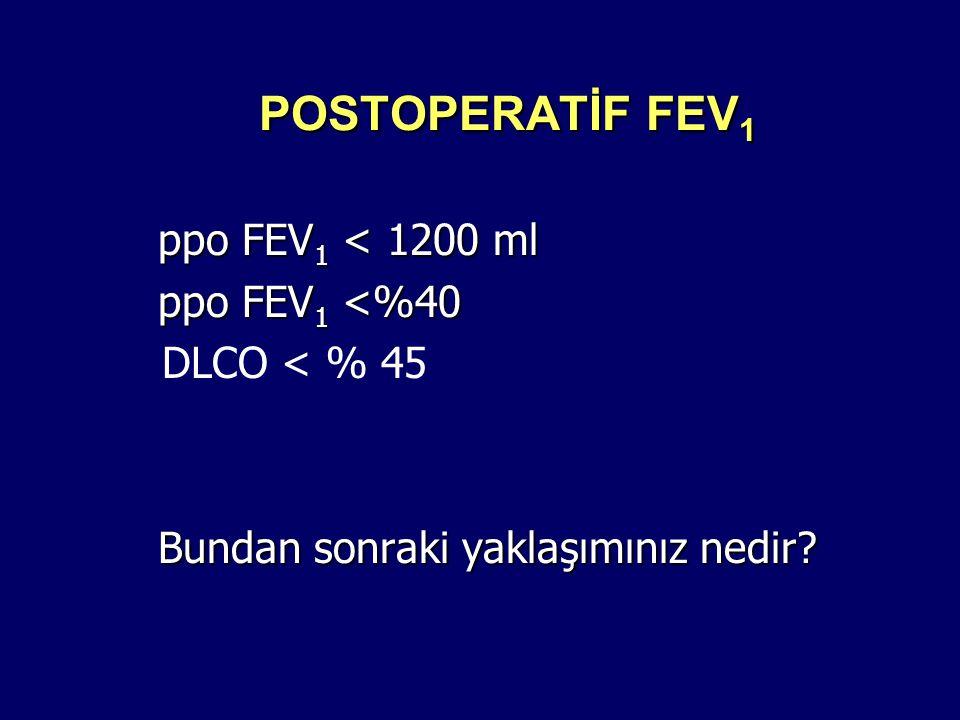 POSTOPERATİF FEV 1 ppo FEV 1 < 1200 ml ppo FEV 1 <%40 DLCO < % 45 Bundan sonraki yaklaşımınız nedir?