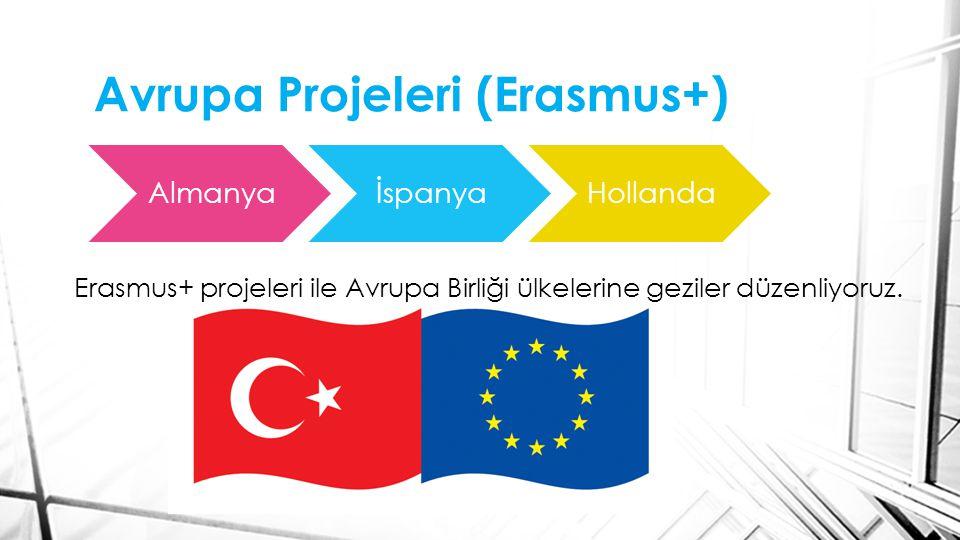 Avrupa Projeleri (Erasmus+) İtalyaFinlandiyaPortekiz Erasmus+ projeleri ile Avrupa Birliği ülkelerine geziler düzenliyoruz.