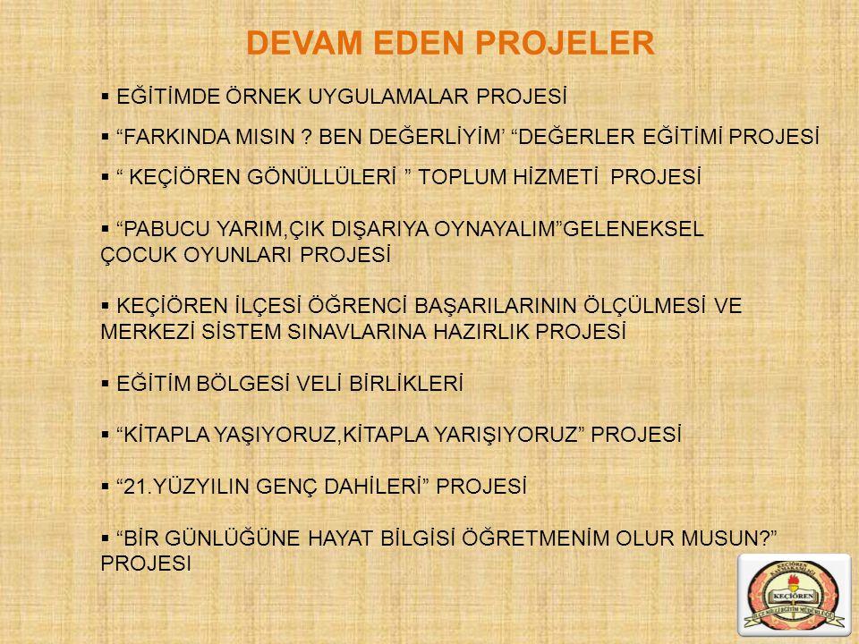 """DEVAM EDEN PROJELER  EĞİTİMDE ÖRNEK UYGULAMALAR PROJESİ  """"FARKINDA MISIN ? BEN DEĞERLİYİM' """"DEĞERLER EĞİTİMİ PROJESİ  """" KEÇİÖREN GÖNÜLLÜLERİ """" TOPL"""