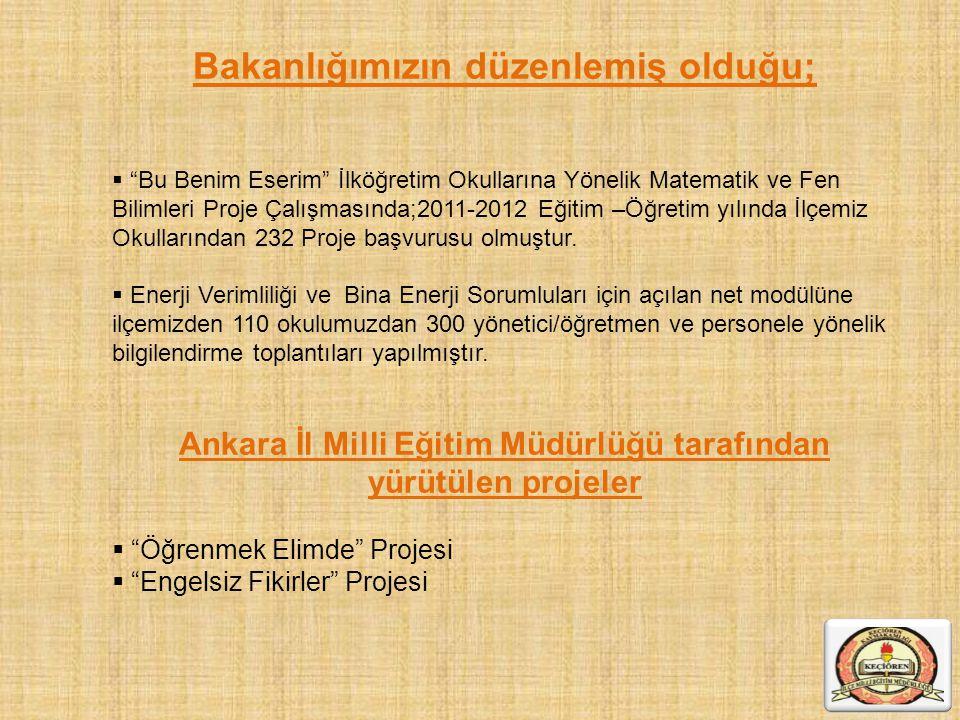 """Bakanlığımızın düzenlemiş olduğu;  """"Bu Benim Eserim"""" İlköğretim Okullarına Yönelik Matematik ve Fen Bilimleri Proje Çalışmasında;2011-2012 Eğitim –Öğ"""
