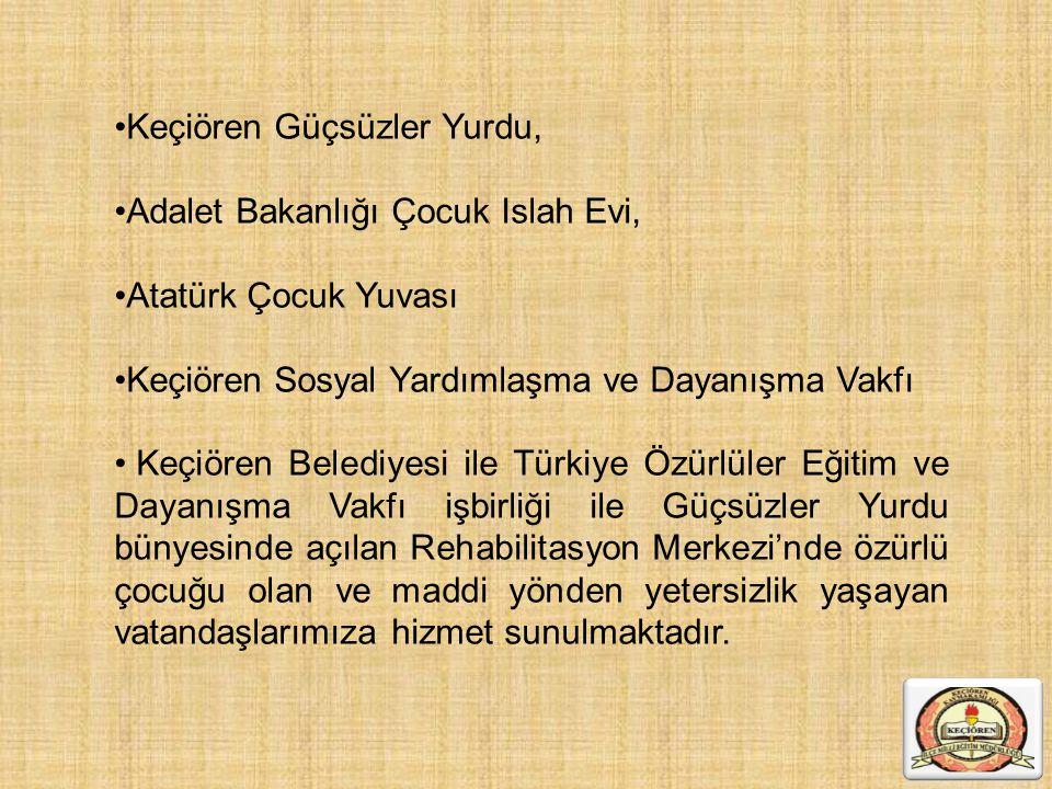 Keçiören Güçsüzler Yurdu, Adalet Bakanlığı Çocuk Islah Evi, Atatürk Çocuk Yuvası Keçiören Sosyal Yardımlaşma ve Dayanışma Vakfı Keçiören Belediyesi il