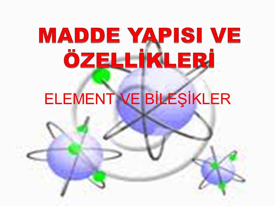 ELEMENTLER Aynı cins atomlardan meydana gelen saf maddelere element denir.
