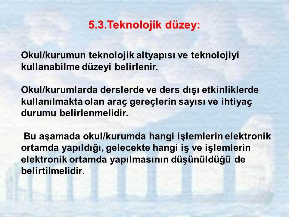 5.3.Teknolojik düzey: Okul/kurumun teknolojik altyapısı ve teknolojiyi kullanabilme düzeyi belirlenir.