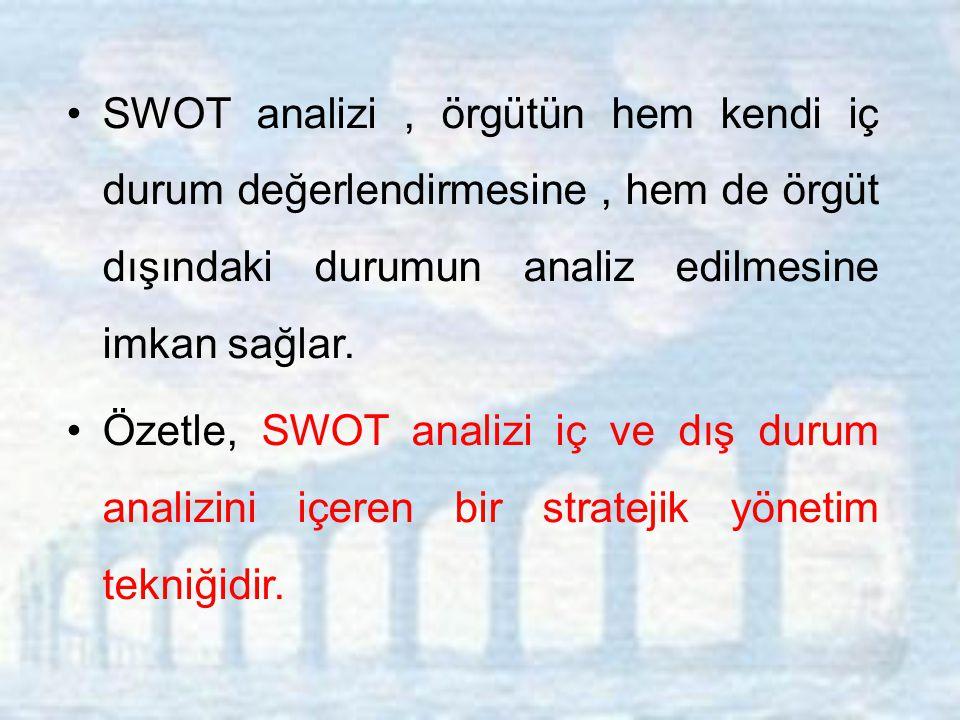 SWOT analizi, örgütün hem kendi iç durum değerlendirmesine, hem de örgüt dışındaki durumun analiz edilmesine imkan sağlar.