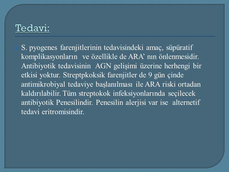  S. pyogenes farenjitlerinin tedavisindeki amaç, süpüratif komplikasyonların ve özellikle de ARA' nın önlenmesidir. Antibiyotik tedavisinin AGN geliş