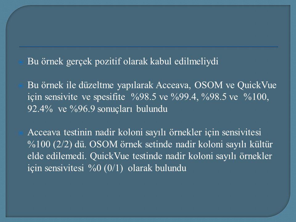 Bu örnek gerçek pozitif olarak kabul edilmeliydi  Bu örnek ile düzeltme yapılarak Acceava, OSOM ve QuickVue için sensivite ve spesifite %98.5 ve %9