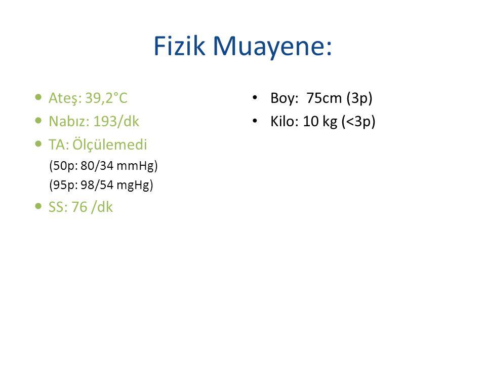Fizik Muayene: Ateş: 39,2°C Nabız: 193/dk TA: Ölçülemedi (50p: 80/34 mmHg) (95p: 98/54 mgHg) SS: 76 /dk Boy: 75cm (3p) Kilo: 10 kg (<3p)