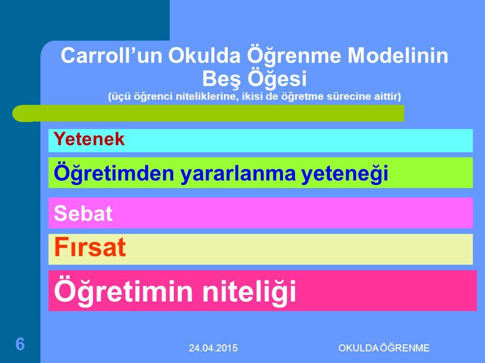 24.04.2015OKULDA ÖĞRENME 6 Carroll'un Okulda Öğrenme Modelinin Beş Öğesi (üçü öğrenci niteliklerine, ikisi de öğretme sürecine aittir) Yetenek Öğretimden yararlanma yeteneği Sebat Fırsat Öğretimin niteliği
