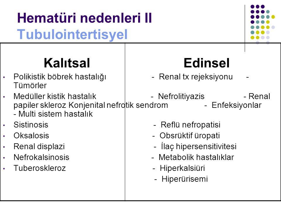 Hematüri nedenleri II Tubulointertisyel Kalıtsal Edinsel Polikistik böbrek hastalığı - Renal tx rejeksiyonu - Tümörler Medüller kistik hastalık - Nefr
