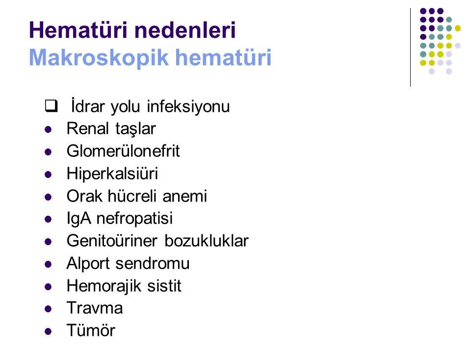 Hematüri nedenleri Makroskopik hematüri  İdrar yolu infeksiyonu Renal taşlar Glomerülonefrit Hiperkalsiüri Orak hücreli anemi IgA nefropatisi Genitoü