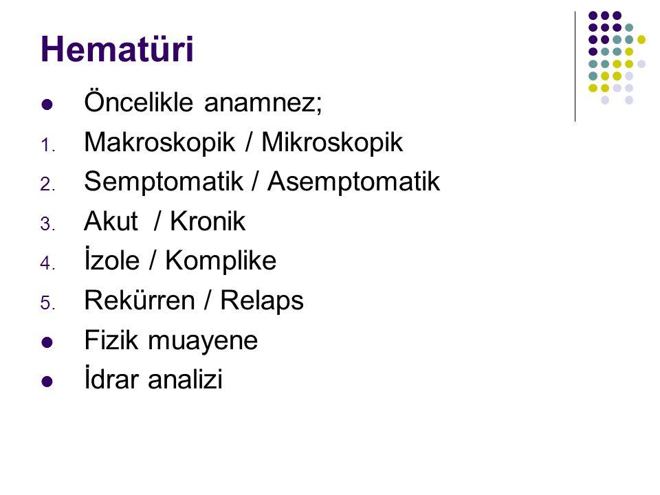 Hematüri Öncelikle anamnez; 1. Makroskopik / Mikroskopik 2. Semptomatik / Asemptomatik 3. Akut / Kronik 4. İzole / Komplike 5. Rekürren / Relaps Fizik