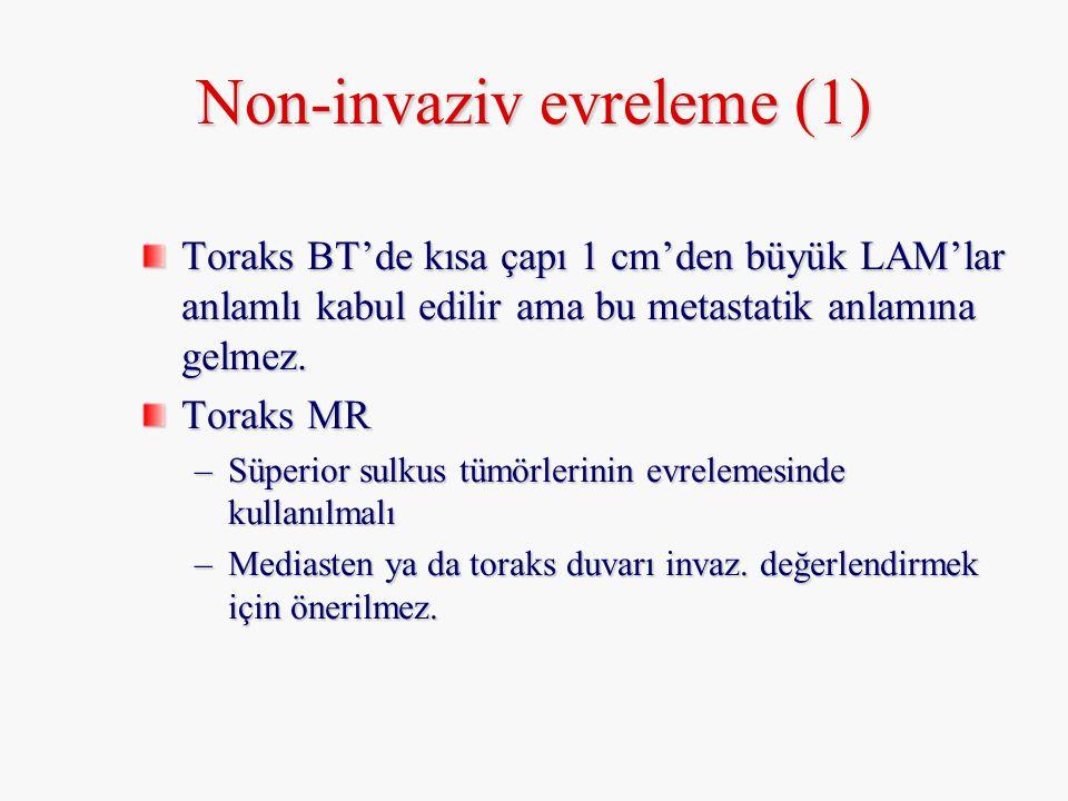Non-invaziv evreleme (1) Toraks BT'de kısa çapı 1 cm'den büyük LAM'lar anlamlı kabul edilir ama bu metastatik anlamına gelmez. Toraks MR –Süperior sul