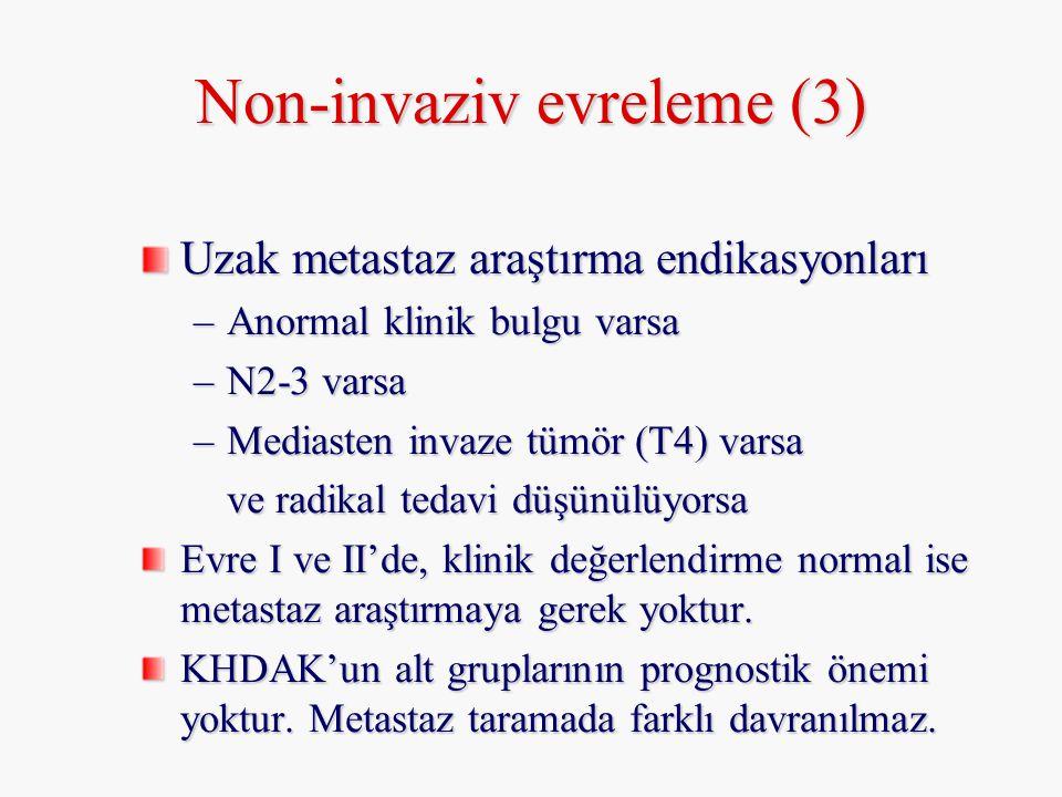 Non-invaziv evreleme (3) Uzak metastaz araştırma endikasyonları –Anormal klinik bulgu varsa –N2-3 varsa –Mediasten invaze tümör (T4) varsa ve radikal