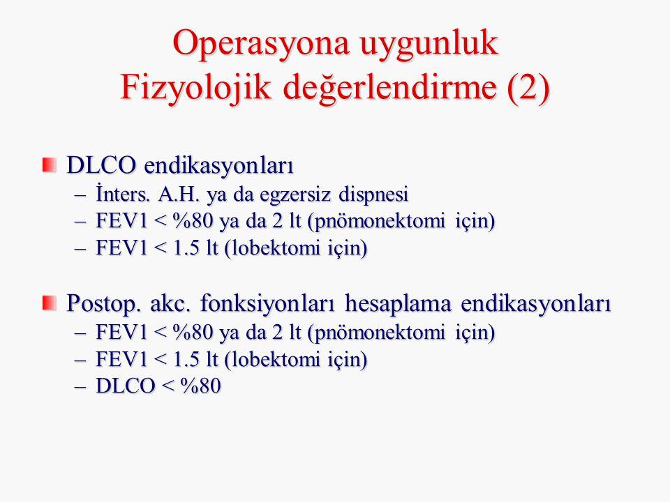 Operasyona uygunluk Fizyolojik değerlendirme (2) DLCO endikasyonları –İnters. A.H. ya da egzersiz dispnesi –FEV1 < %80 ya da 2 lt (pnömonektomi için)