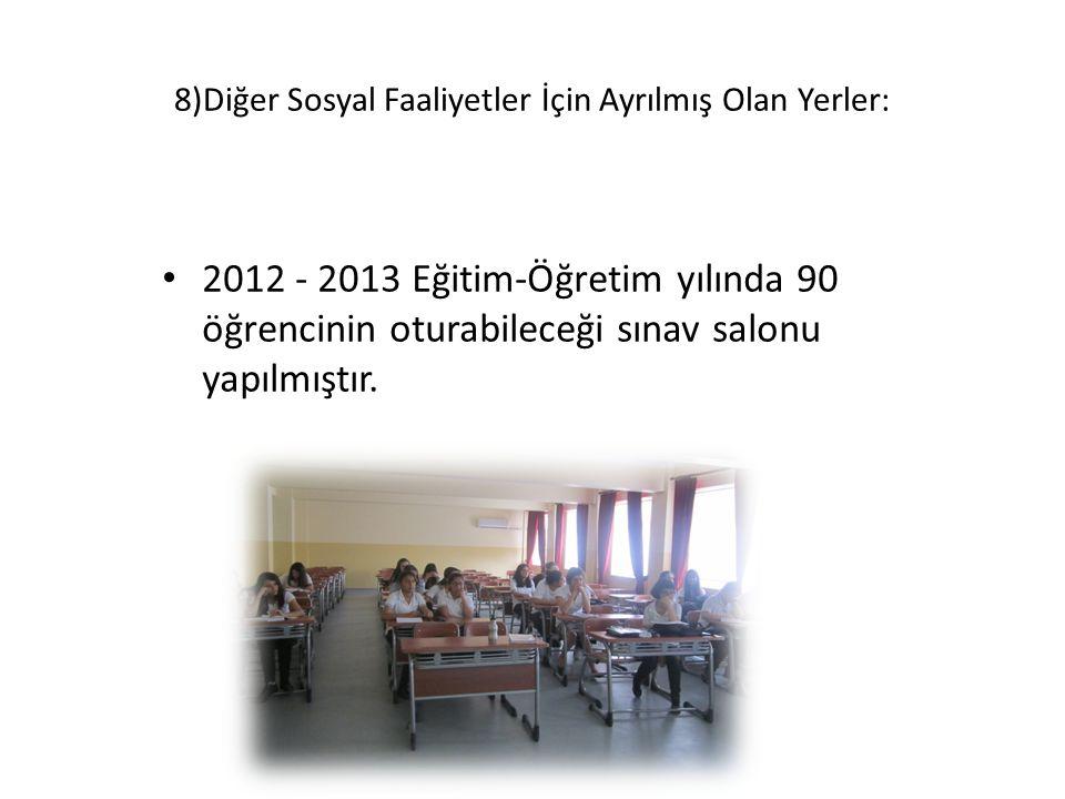8)Diğer Sosyal Faaliyetler İçin Ayrılmış Olan Yerler: 2012 - 2013 Eğitim-Öğretim yılında 90 öğrencinin oturabileceği sınav salonu yapılmıştır.