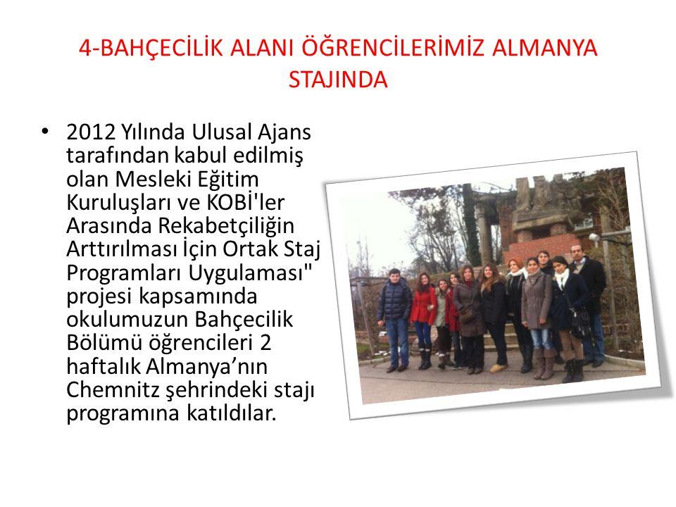 4-BAHÇECİLİK ALANI ÖĞRENCİLERİMİZ ALMANYA STAJINDA 2012 Yılında Ulusal Ajans tarafından kabul edilmiş olan Mesleki Eğitim Kuruluşları ve KOBİ'ler Aras