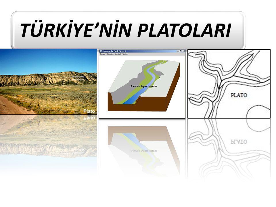 Plato: Çevresine göre yüksekte kalan akarsular tarafından parçalanmış arazilere plato denir.