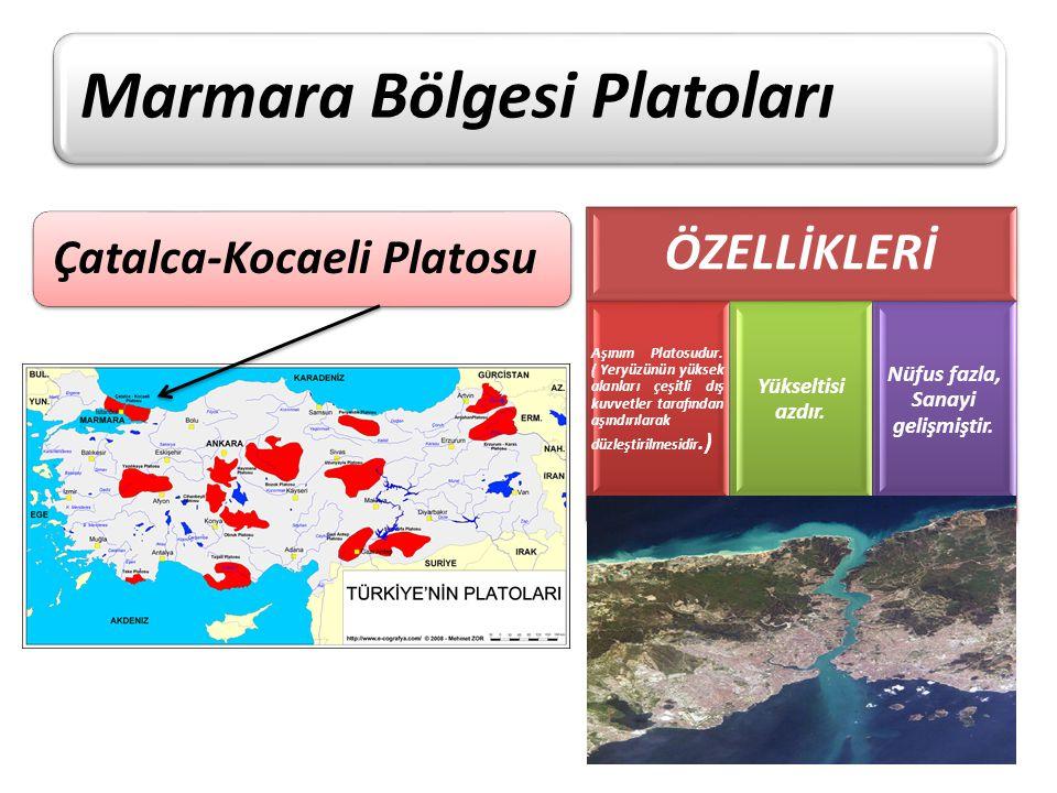 Marmara Bölgesi Platoları Çatalca-Kocaeli Platosu ÖZELLİKLERİ Aşınım Platosudur. ( Yeryüzünün yüksek alanları çeşitli dış kuvvetler tarafından aşındır