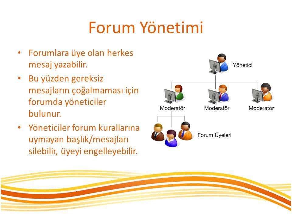 Forum Yönetimi Forumlara üye olan herkes mesaj yazabilir. Bu yüzden gereksiz mesajların çoğalmaması için forumda yöneticiler bulunur. Yöneticiler foru