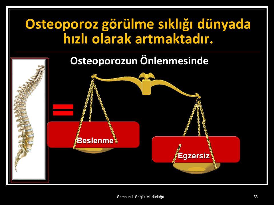 Osteoporozun Önlenmesinde daha etkindir. Beslenme Egzersiz Osteoporoz görülme sıklığı dünyada hızlı olarak artmaktadır. 63Samsun İl Sağlık Müdürlüğü