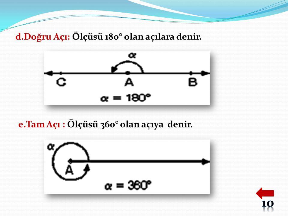 d.Doğru Açı: Ölçüsü 180° olan açılara denir. e.Tam Açı : Ölçüsü 360° olan açıya denir.