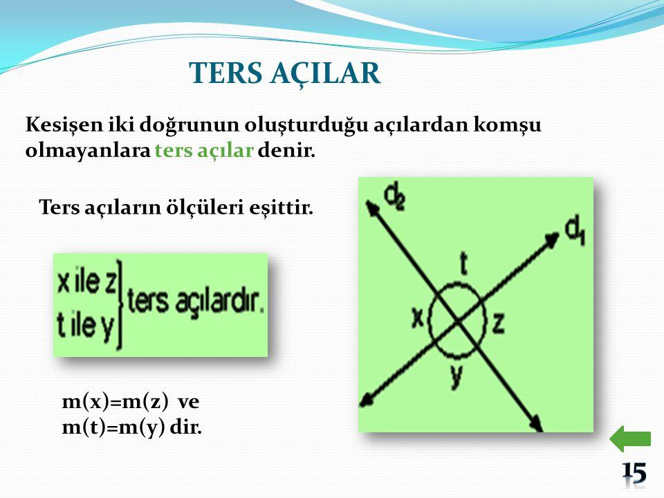 TERS AÇILAR Kesişen iki doğrunun oluşturduğu açılardan komşu olmayanlara ters açılar denir. Ters açıların ölçüleri eşittir. m(x)=m(z) ve m(t)=m(y) dir