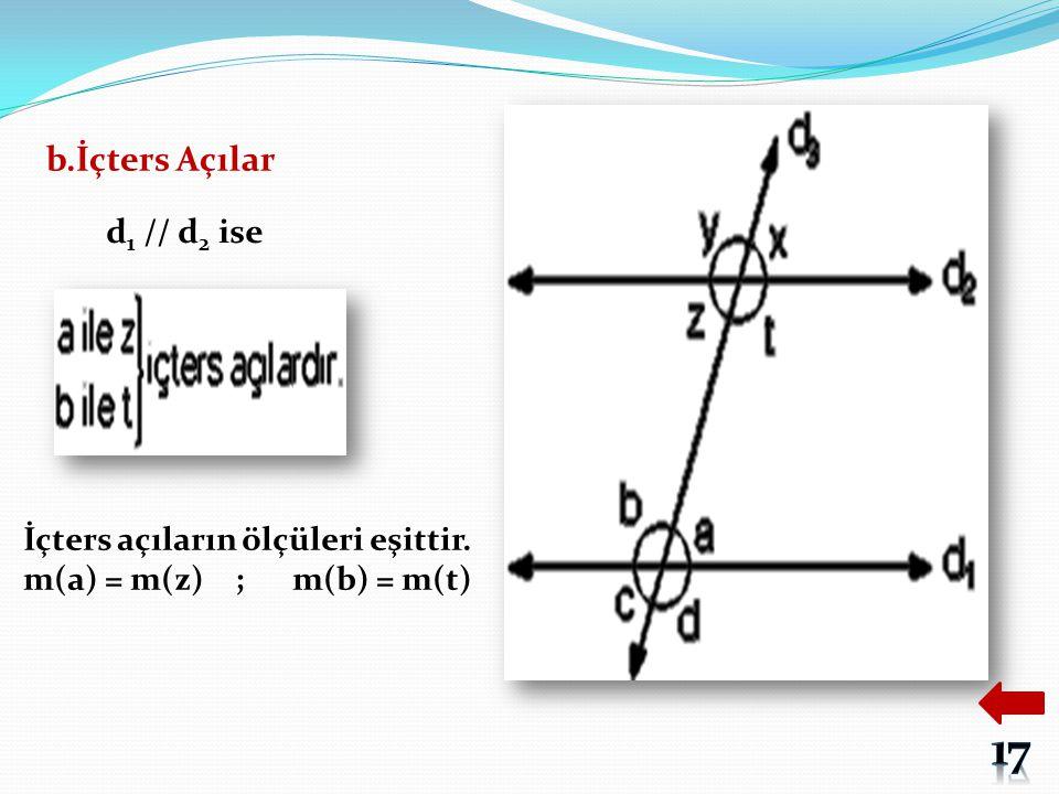b.İçters Açılar d 1 // d 2 ise İçters açıların ölçüleri eşittir. m(a) = m(z) ; m(b) = m(t)