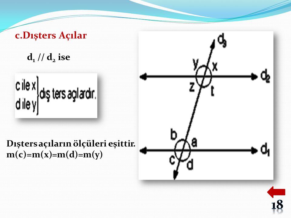 c.Dışters Açılar d 1 // d 2 ise Dışters açıların ölçüleri eşittir. m(c)=m(x)=m(d)=m(y)