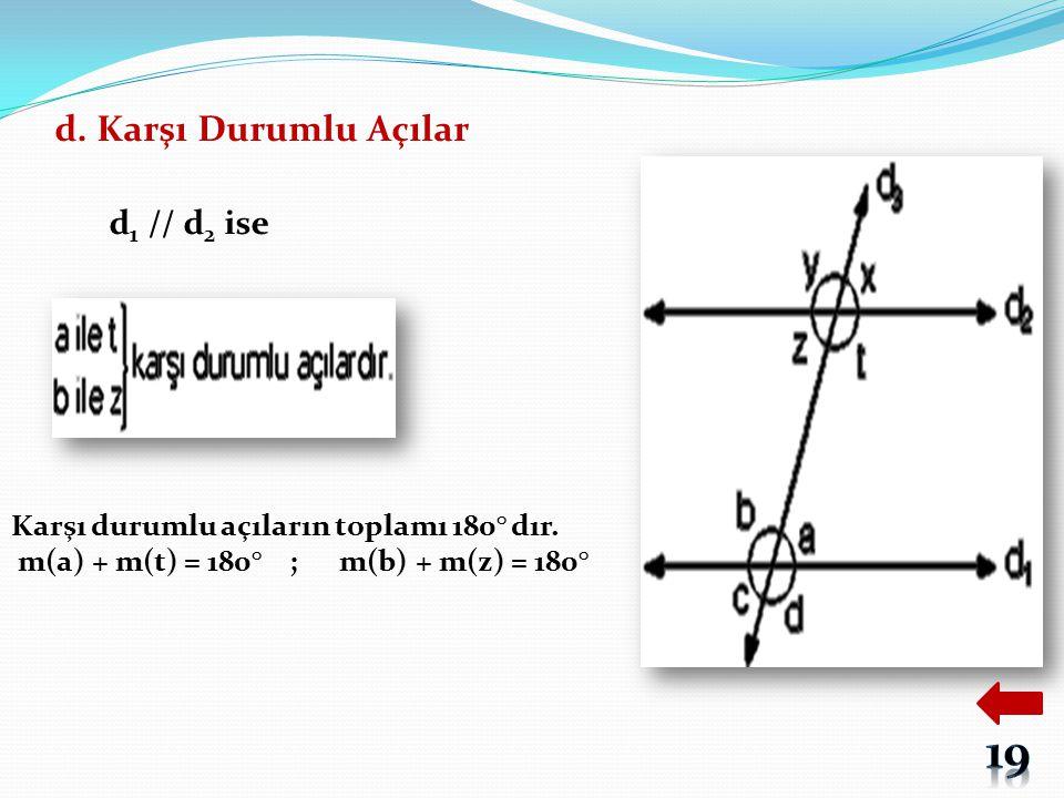 d. Karşı Durumlu Açılar d 1 // d 2 ise Karşı durumlu açıların toplamı 180° dır. m(a) + m(t) = 180° ; m(b) + m(z) = 180°