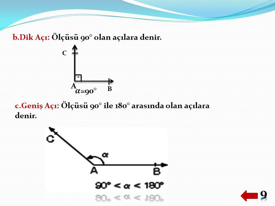 b.Dik Açı: Ölçüsü 90° olan açılara denir.. c.Geniş Açı: Ölçüsü 90° ile 180° arasında olan açılara denir. A B C