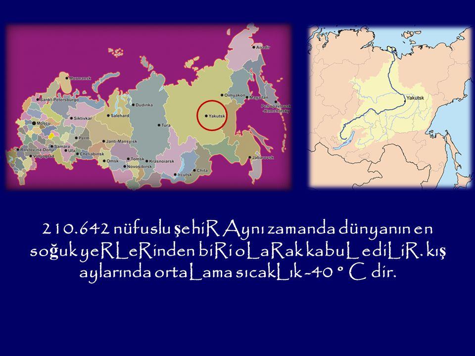 210.642 nüfuslu ş ehiR Aynı zamanda dünyanın en so ğ uk yeRLeRinden biRi oLaRak kabuL ediLiR.
