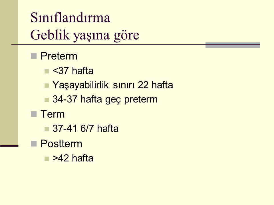 Sınıflandırma Doğum ağırlığına göre Gebelik yaşına göre küçük (SGA) Gebelik yaşına uygun ortalama doğum ağırlığının 2SD altı veya %10 altı Gebelik yaşına uygun (AGA) Gebelik yaşına göre iri (LGA) Gebelik yaşına uygun ortalama doğum ağırlığının 2SD üstü veya %90 üzeri