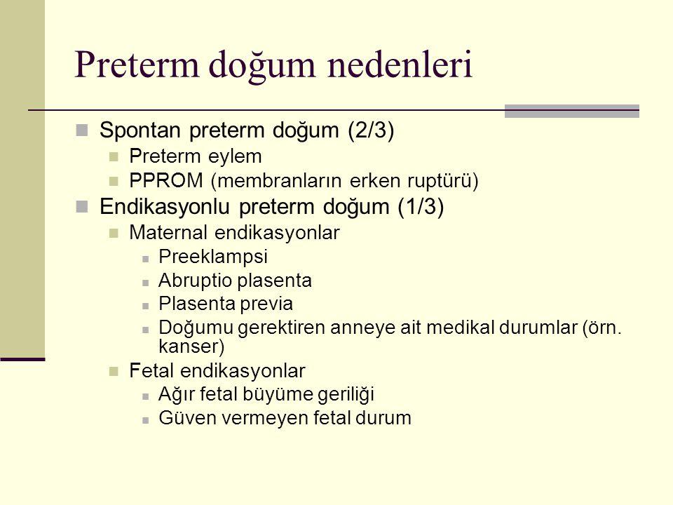 Preterm doğum nedenleri Spontan preterm doğum (2/3) Preterm eylem PPROM (membranların erken ruptürü) Endikasyonlu preterm doğum (1/3) Maternal endikas