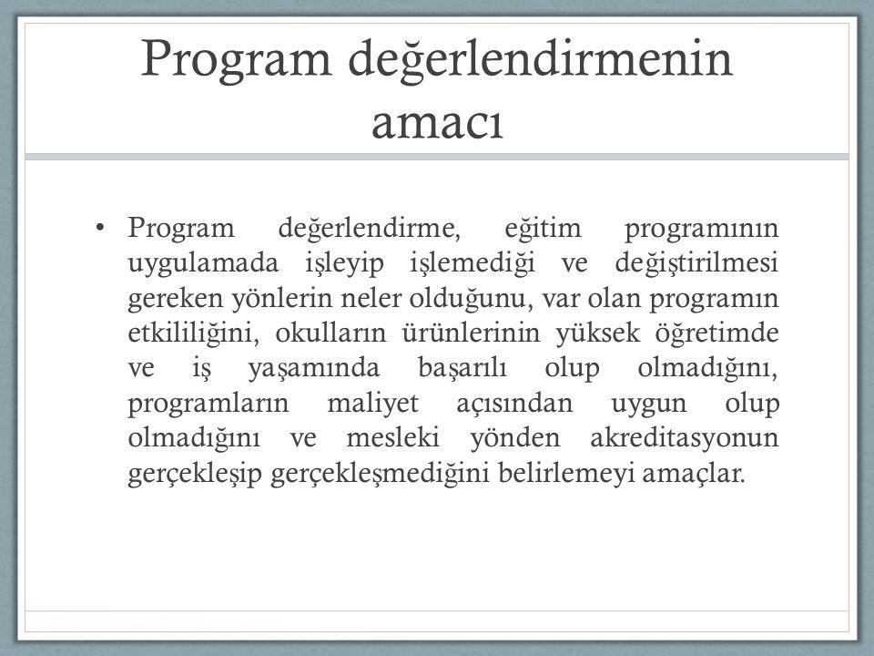 Program de ğ erlendirmenin amacı Program de ğ erlendirme, e ğ itim programının uygulamada i ş leyip i ş lemedi ğ i ve de ğ i ş tirilmesi gereken yönlerin neler oldu ğ unu, var olan programın etkilili ğ ini, okulların ürünlerinin yüksek ö ğ retimde ve i ş ya ş amında ba ş arılı olup olmadı ğ ını, programların maliyet açısından uygun olup olmadı ğ ını ve mesleki yönden akreditasyonun gerçekle ş ip gerçekle ş medi ğ ini belirlemeyi amaçlar.