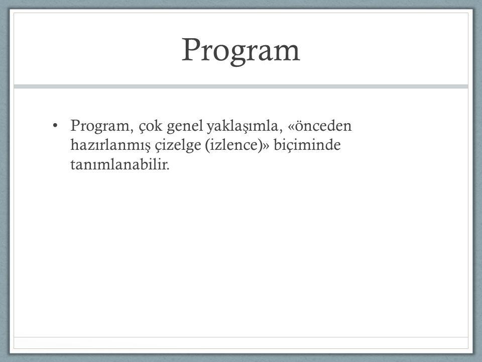 Program Program, çok genel yakla ş ımla, «önceden hazırlanmı ş çizelge (izlence)» biçiminde tanımlanabilir.