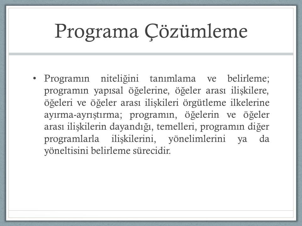 Programa Çözümleme Programın niteli ğ ini tanımlama ve belirleme; programın yapısal ö ğ elerine, ö ğ eler arası ili ş kilere, ö ğ eleri ve ö ğ eler arası ili ş kileri örgütleme ilkelerine ayırma-ayrı ş tırma; programın, ö ğ elerin ve ö ğ eler arası ili ş kilerin dayandı ğ ı, temelleri, programın di ğ er programlarla ili ş kilerini, yönelimlerini ya da yöneltisini belirleme sürecidir.