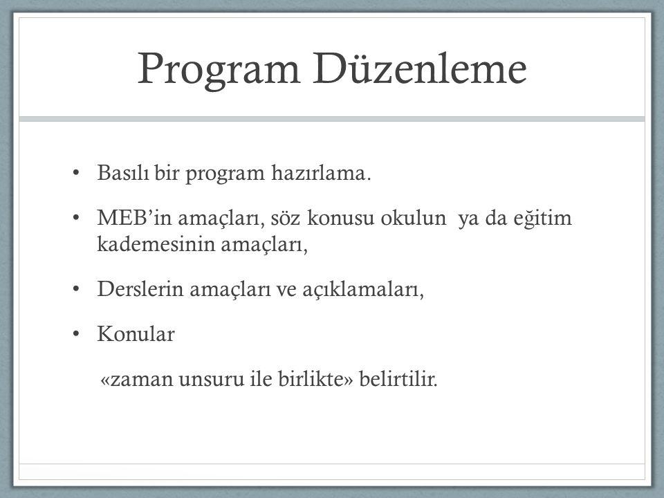 Program Düzenleme Basılı bir program hazırlama. MEB'in amaçları, söz konusu okulun ya da e ğ itim kademesinin amaçları, Derslerin amaçları ve açıklama