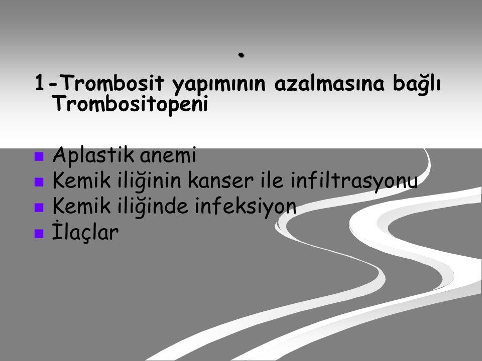 . 1-Trombosit yapımının azalmasına bağlı Trombositopeni Aplastik anemi Kemik iliğinin kanser ile infiltrasyonu Kemik iliğinde infeksiyon İlaçlar
