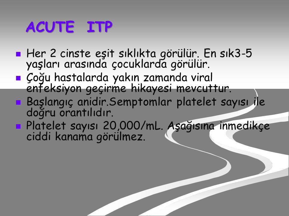 ACUTE ITP ACUTE ITP Her 2 cinste eşit sıklıkta görülür.