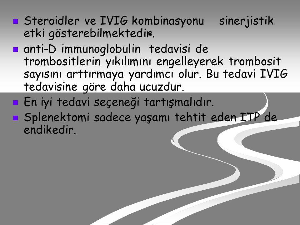 Steroidler ve IVIG kombinasyonu sinerjistik etki gösterebilmektedir.