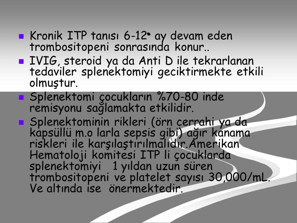 Kronik ITP tanısı 6-12 ay devam eden trombositopeni sonrasında konur..