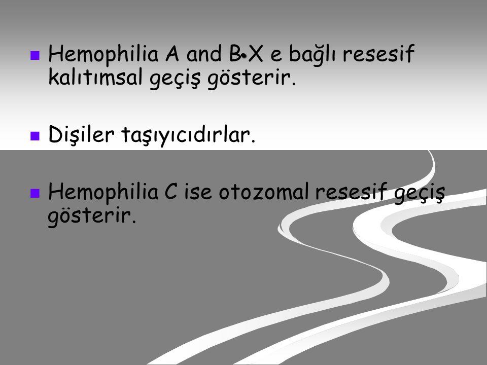 Hemophilia A and B X e bağlı resesif kalıtımsal geçiş gösterir.