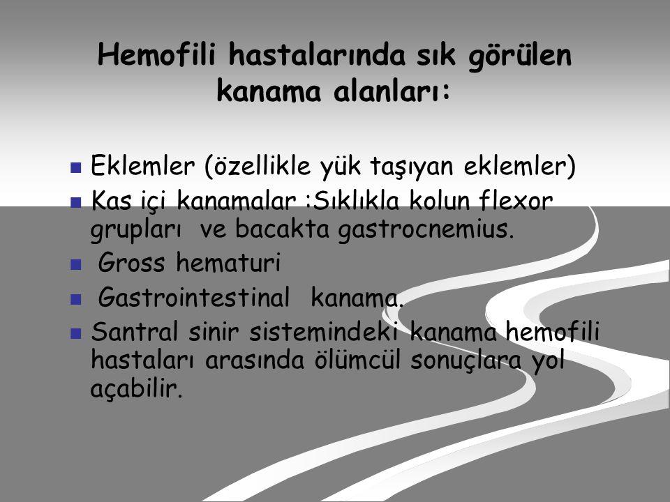 Hemofili hastalarında sık görülen kanama alanları: Eklemler (özellikle yük taşıyan eklemler) Kas içi kanamalar :Sıklıkla kolun flexor grupları ve bacakta gastrocnemius.