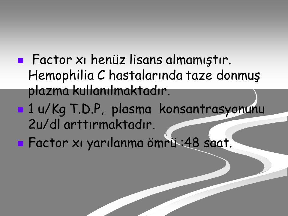 Factor xı henüz lisans almamıştır.Hemophilia C hastalarında taze donmuş plazma kullanılmaktadır.