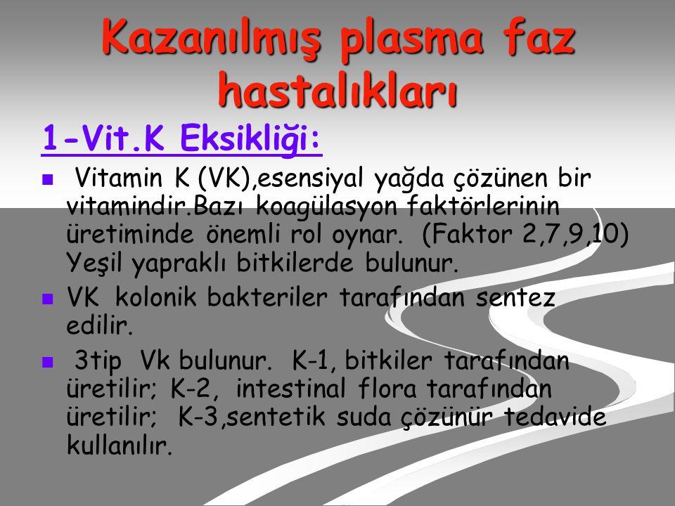 Kazanılmış plasma faz hastalıkları 1-Vit.K Eksikliği: Vitamin K (VK),esensiyal yağda çözünen bir vitamindir.Bazı koagülasyon faktörlerinin üretiminde önemli rol oynar.