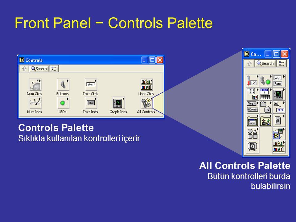 Front Panel − Controls Palette Controls Palette Sıklıkla kullanılan kontrolleri içerir All Controls Palette Bütün kontrolleri burda bulabilirsin
